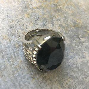 Lia Sophia Ring Charcoal Grey Crystal